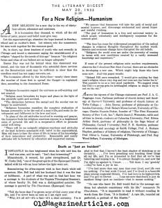Сообщение в Literary Digest о подписании Гуманистического Манифеста. 1933 год.