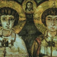 """Икона, изображающая """"братотворение"""" Сергия и Вакха"""