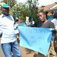 Представители ЛГБТ-сообщества Кении на демонстрации в Найроби