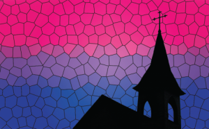 Церковь на фоне бисексуального флага