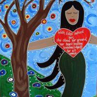 """Лилит, картина Анджелы Ярбер. Надпись: """"Оставив Эдем, она не оставила свои убеждения; ее сердце бьется свободой и достоинством для всех женщин..."""""""