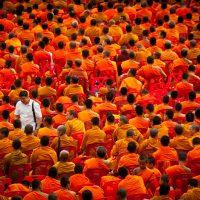 Буддийские монахи и человек в европейской одежде